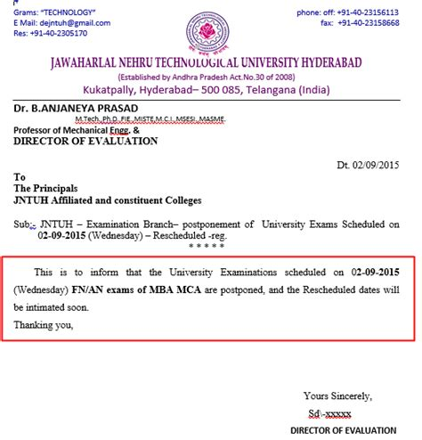 Jntuh Mba 2016 by Jntuh Mba And Mca Examinations Scheduled On 02 09 2015 Are
