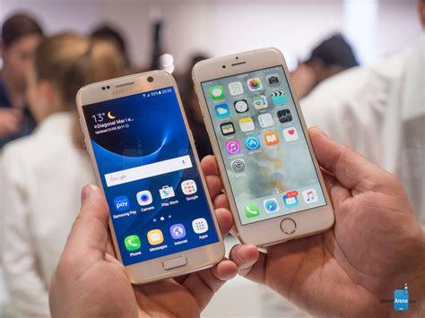 Samsung S7 Vs Iphone 6 Samsung Galaxy S7 Vs Iphone 6s Look Phonearena Reviews