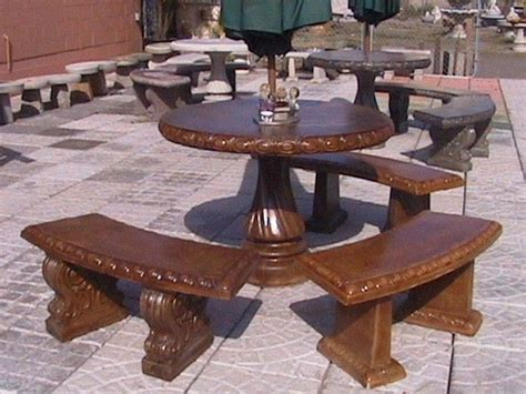 Concrete Patio Table And Benches Garden Tables And Benches Concrete Decorative Bench Portland Garden Decor