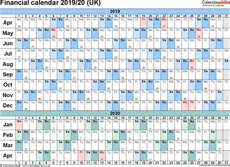 Financial Calendar Financial Calendars 2019 20 Uk In Pdf Format