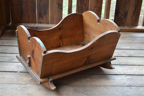 Handmade Wooden Cradle - vintage wood rocking baby cradle handmade primitive