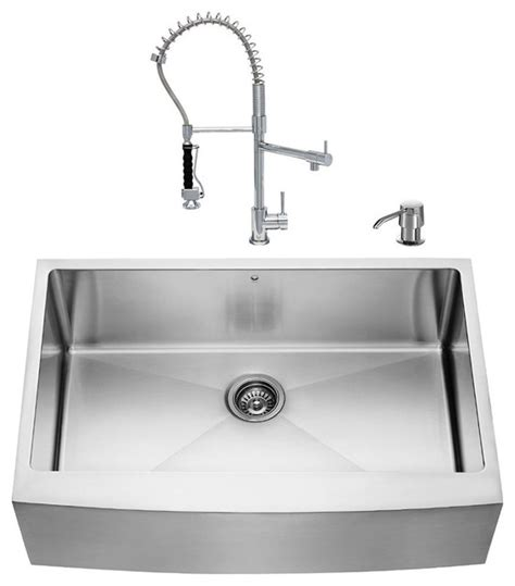 Vigo All In One 33 Quot Farmhouse Stainless Steel Kitchen Sink Modern Kitchen Sinks Stainless Steel