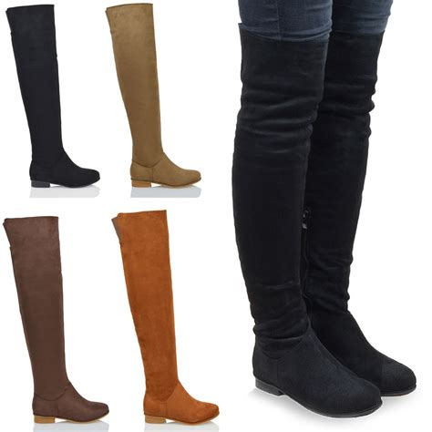 flat heel thigh high boots womens the knee high flat faux suede