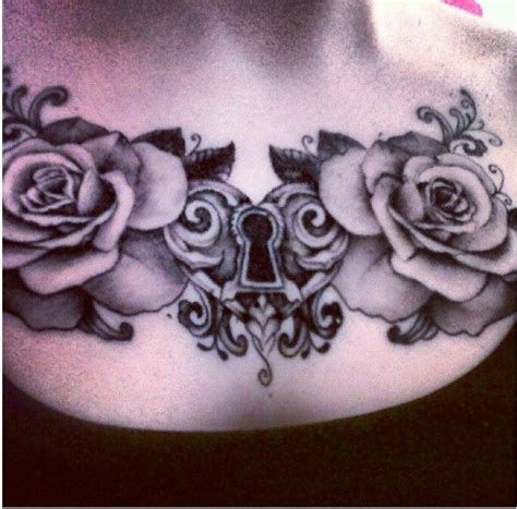 tattoo rose chest piece heart lock and roses upper chest tattoo leave black and