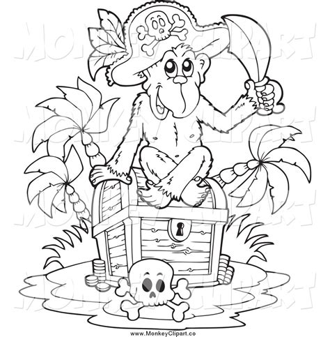 monkey pirate coloring pages pirate treasure black and white clipart clipart suggest