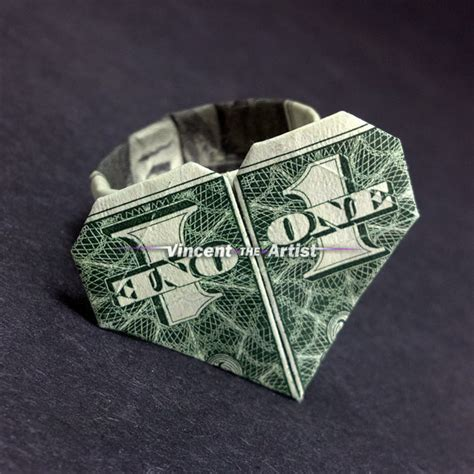 Dollar Bill Origami Ring - ring money origami dollar bill vincent the artist