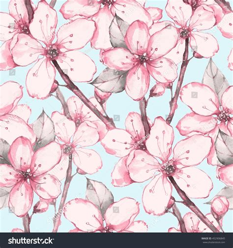 japanese pattern watercolor japanese garden 12 watercolor seamless floral stock