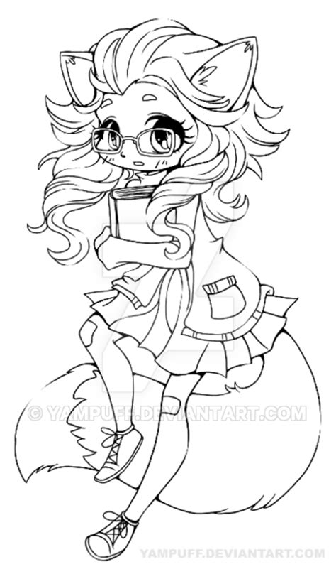 Fox Girl Chibi Lineart By Yampuff On Deviantart Coloriage Halloween A Imprimer Gratuitement Load In