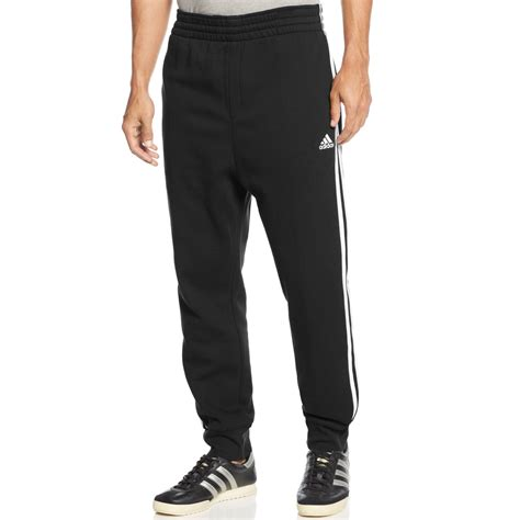 Adidas Slimfit Coklat adidas s striped slim fit joggers in black for lyst