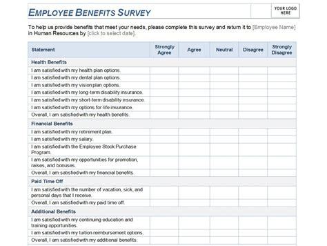 staff surveys template employee benefits survey template