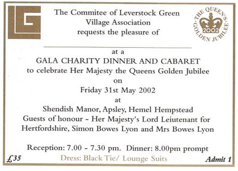 charity dinner invitation letter jubilee