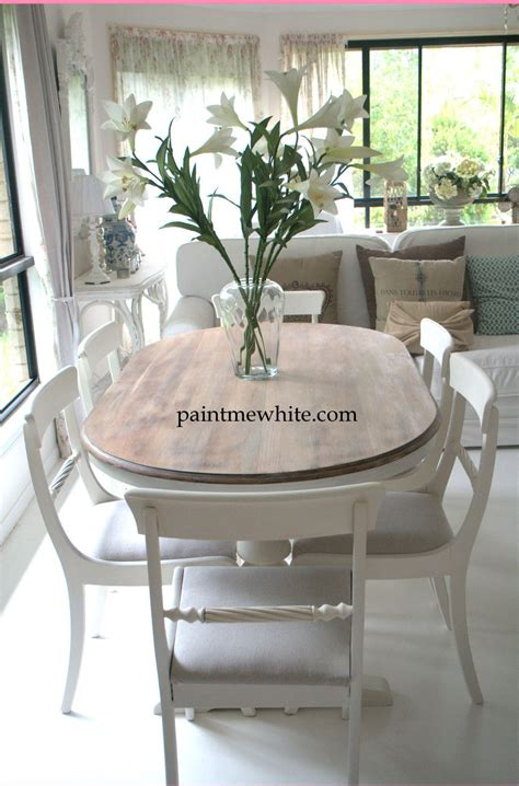 Dining Table Makeover Whitewash Table Top And White White Painted Dining Table And Chairs