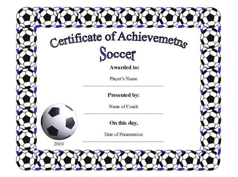 soccer award certificate templates free printable football certificates template update234