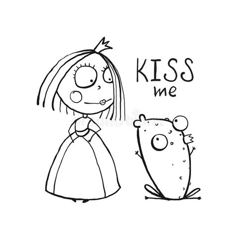 love story coloring pages baby princess and frog asking for kiss coloring stock
