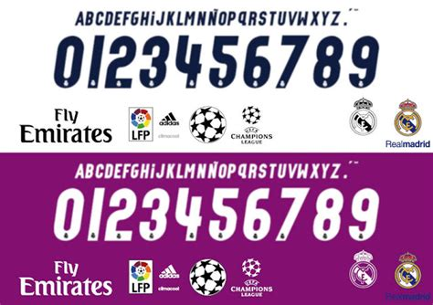 Custom Font Nameset La Liga Atletico Madrid 2017 2018 lettering time tipograf 237 as de las camisetas de la liga 2016 2017 barcelona f c real madrid