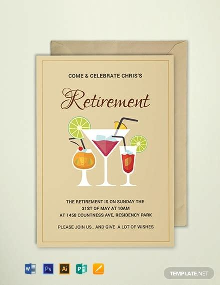 Free Printable Retirement Party Invitation Template Download 637 Invitations In Psd Indesign Free Retirement Invitation Templates For Word