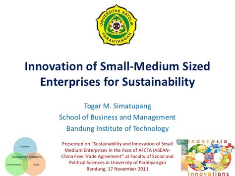 Sustainable Innovation Mba by Innovation Of Small Medium Enterprises For Sustainability