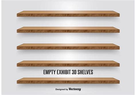 Image Of Wooden Shelves With by Wooden Display Shelves Free Vector Stock
