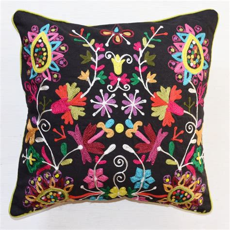 Colorful Sofa Pillows Throw Pillow Black Bright Embroidered Accent Pillow