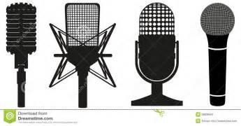 Radio Art Silhouette Icon Set Of Microphones Black Silhouette Stock Image