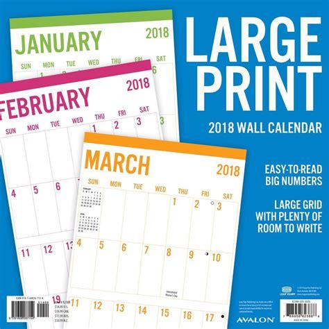 Large Wall Calendar Printable Calendar 2018 Large Print Printable Calendar 2018