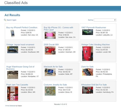 Free App Template Online Classified Ads System For Any Website Caspio Blog Classified Website Template