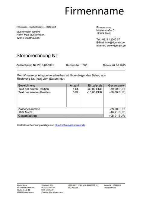 Rechnungskorrektur Umsatzsteuer Muster stornorechnung muster vorlage kostenlos herunterladen