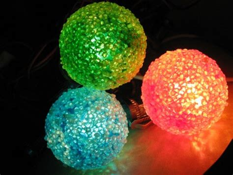 1950s round frosted lights 3 bulbs 7 strand festive