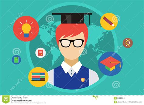 education ilustration student and objects illustration stock vector
