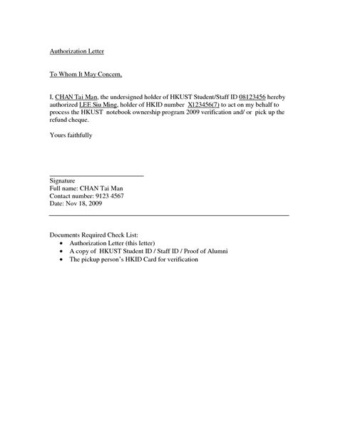 authorization letter in format for authority letter best template collection