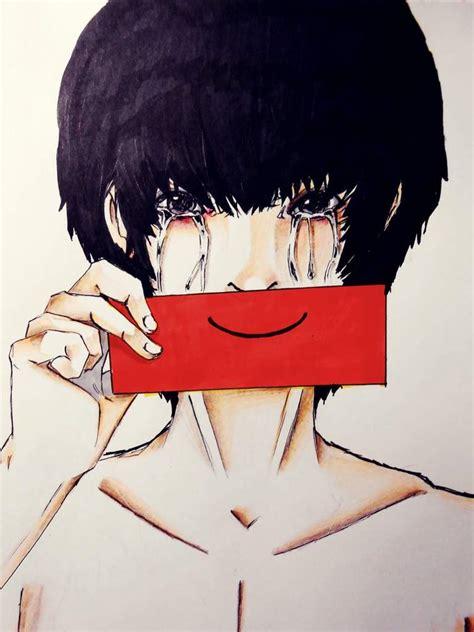 anime sad fake smile www imgkid com the image kid has it