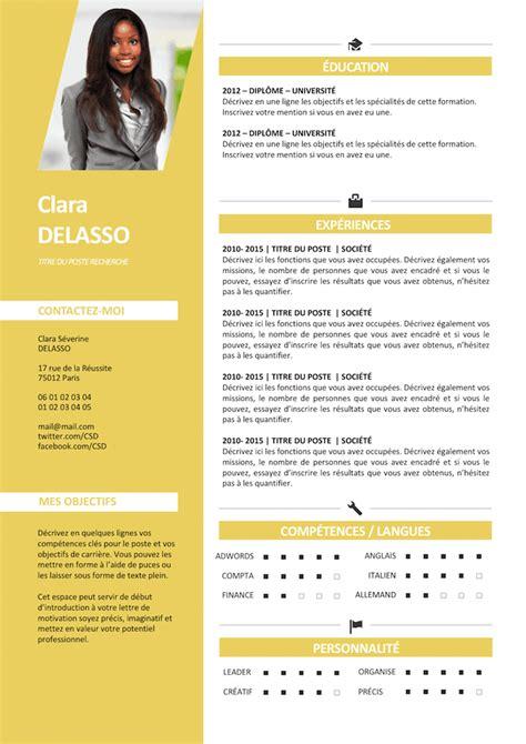 Module De Cv Word by Exemple De Cv Clair Et Lumineux Gratuit 224 T 233 L 233 Charger