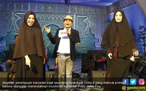 ayat ayat cinta 2 launching dewi sandra dituding melecehkan muslimah bercadar artis
