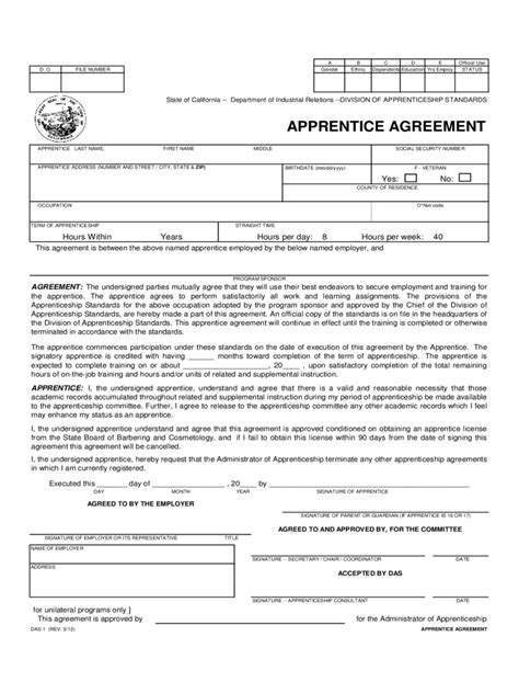 Apprenticeship Agreement Form 6 Free Templates In Pdf Word Excel Download Apprenticeship Template