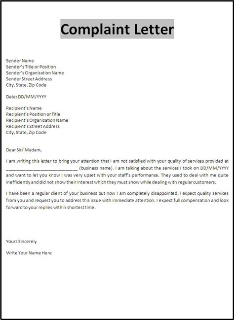 Free Complaint Letter Template   Free Word's Templates