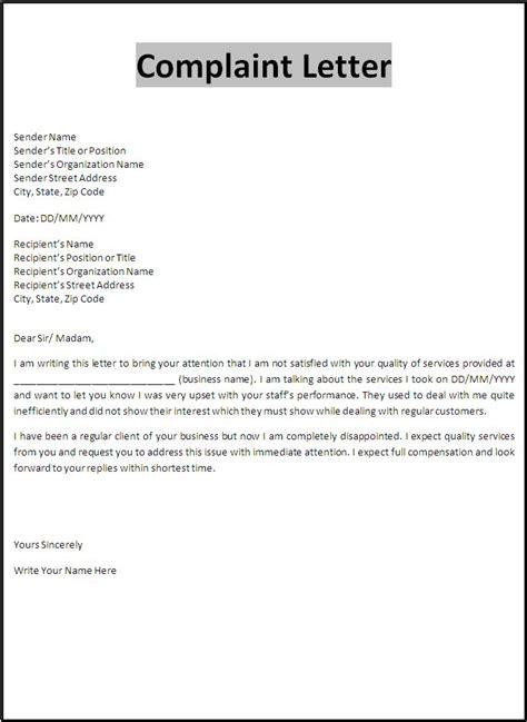 complaint letter word templates