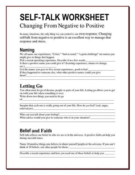 Stinking Thinking Worksheet by Self Talk Worksheets Changing Negatives Into Positives