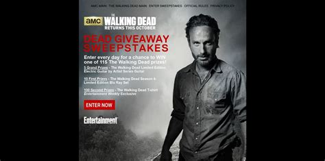Walking Dead Sweepstakes 2014 - amc s the walking dead dead giveaway sweepstakes 115 the walking dead prizes are