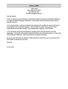 Sle Cover Letter For Caregiver by Best Caregivers Companions Cover Letter Exles Livecareer