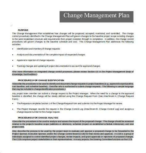 project change management plan template sle change management plan template 11 free