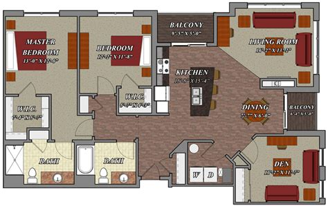 two bedroom and two bathroom apartment 2 bedroom 2 bathroom den style e1 lilly preserve apartments