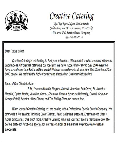 sle catering proposal letter 8 exles in pdf word