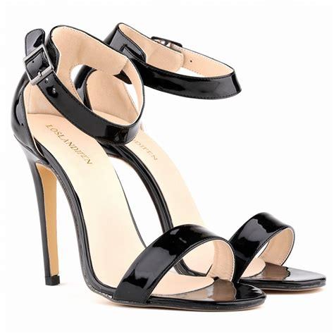 Heels Glossy glossy open toe buckle ankle stiletto heels on luulla