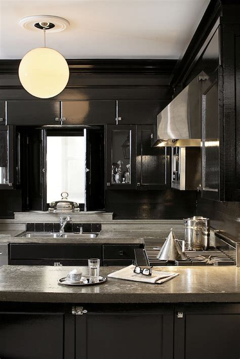 Black Lacquer Kitchen Cabinets Black Lacquer Cabinets Eclectic Kitchen Leo Designs Chicago