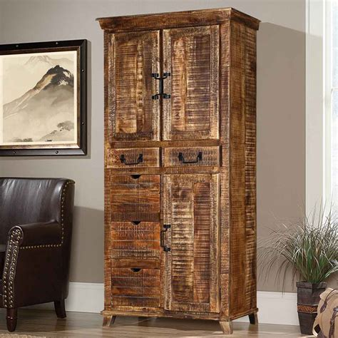 3 door storage cabinet willamette 70 quot rustic 5 drawer 3 door armoire storage cabinet