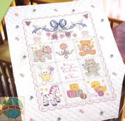 cross stitch kit plaid bucilla babies are precious quilt