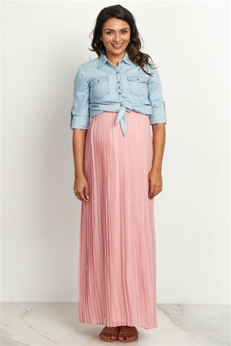 Maternity Maxi Skirt mauve pleated maternity maxi skirt
