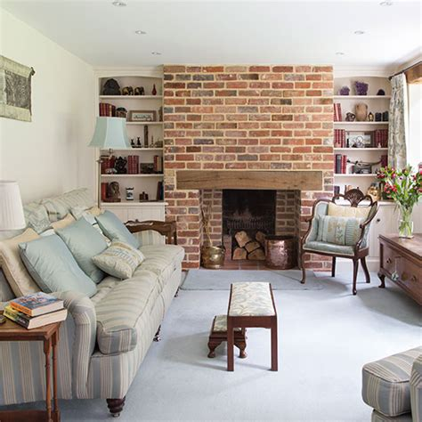 traditional living room with brick chimney decorating
