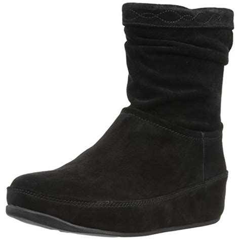 fitflop 0513 womens crush suede slouchy casual wedge boots