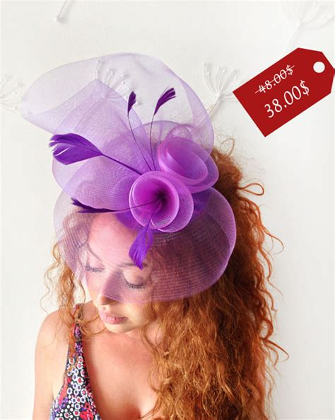 purple fascinator hat purple fascinator purple cocktail hat with feathers handmade